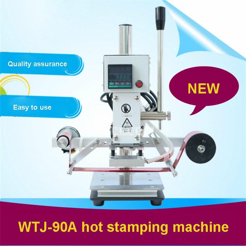 Wielofunkcyjna cyfrowa maszyna do tłoczenia na gorąco WTJ-90A małe automatyczne podawanie papieru skóra PU maszyna do tłoczenia na gorąco 110 V/220 V