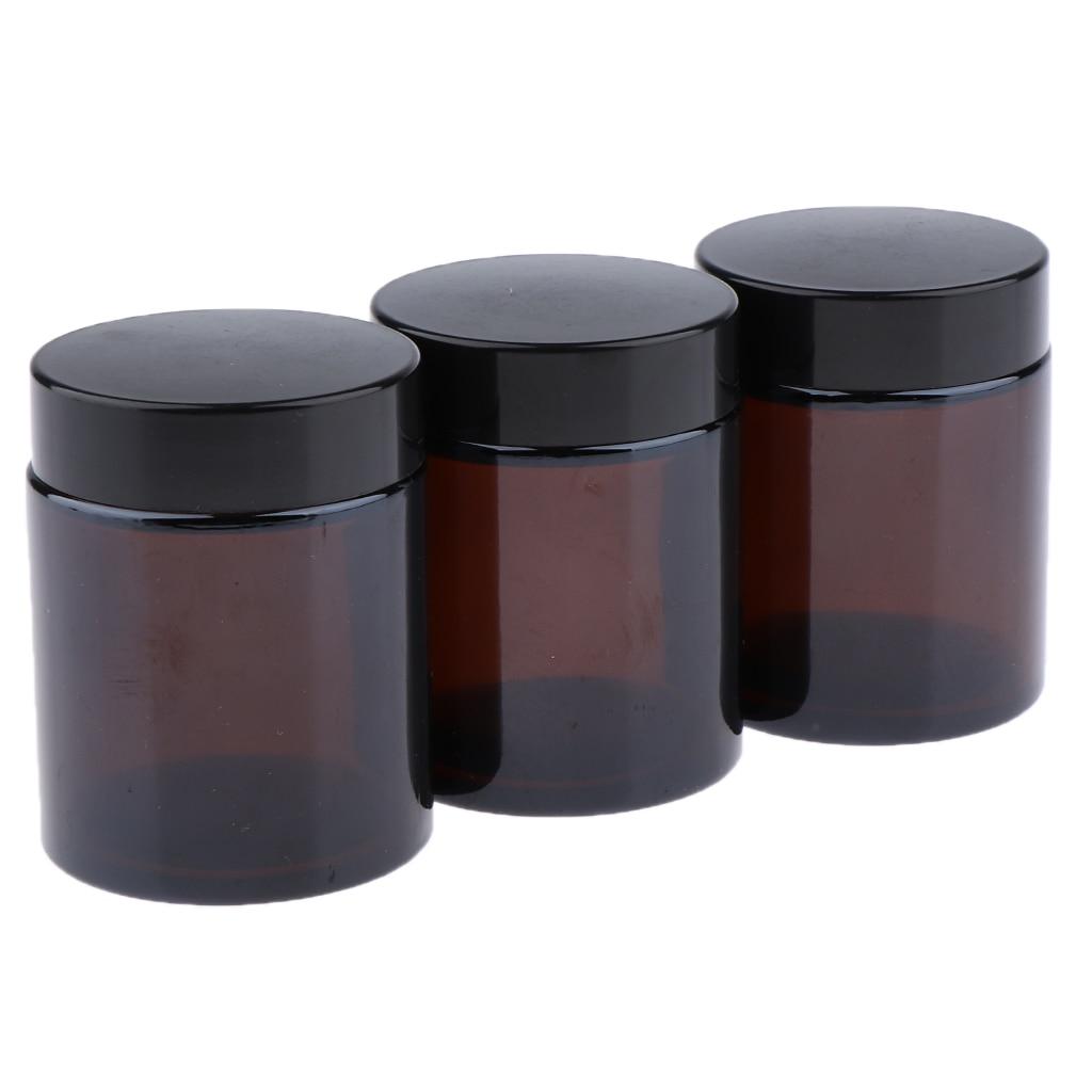 3Pcs 100ml Empty Makeup Jar Pot Travel Face Cream Lotion Cosmetics Glass Containers Refillable Bottles - Dark Brown
