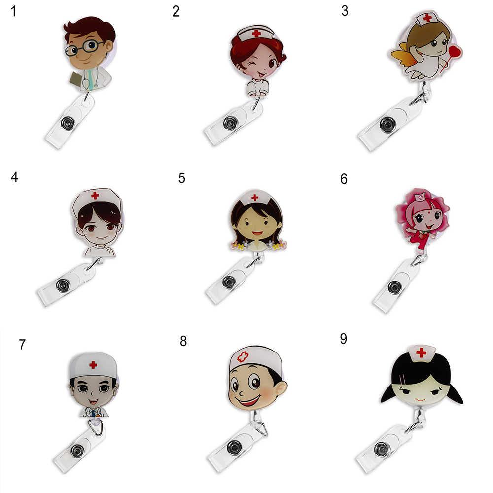 Cute Cartoon Mini Retractable Badge Reel Nurse Lanyards ID Name Card Badge  Holder Clip Student Nurse Badge Holder Office Supply