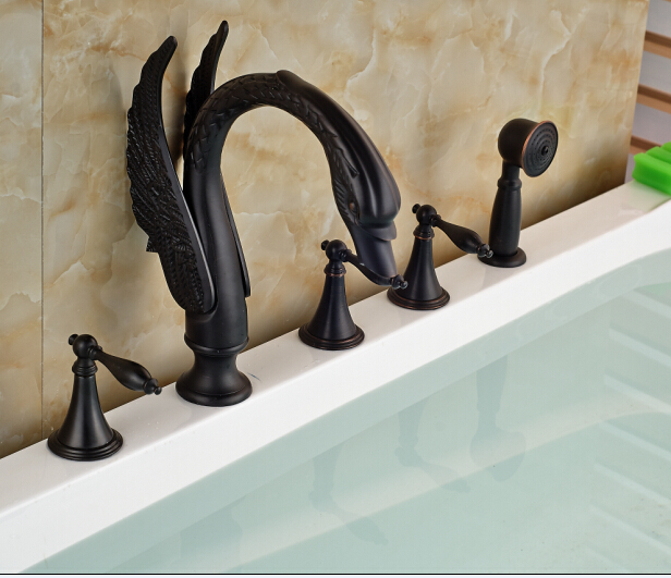 Oil Rubbed Broze Bathtub Faucet 5pcs W/Hand Shower Faucet Mixer Tap