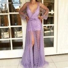SuperKimJo Long Sleeve Beaded Evening Dresses 2018 Sexy Purple A Line Women Formal Vestido De Festa