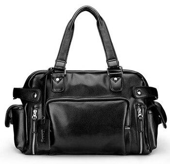 Multi-Function Men Genuine Leather Rivet Travel Bag Cowhide Casual Street High Quality Luggage Shoulder Bag Duffle Handbag D415 - DISCOUNT ITEM  23 OFF Luggage & Bags