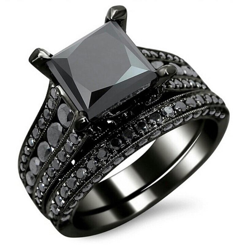 Modyle New Fashion Cocktail Party Ring Set gioielli di moda Color oro nero con zirconi neri a taglio quadrato