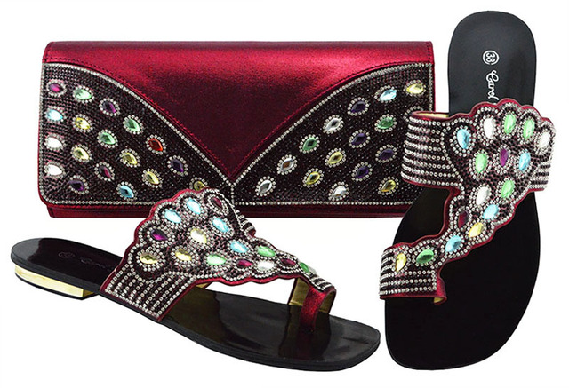 Latest Shoes and Bag Sets Decorated with Rhinestone African Shoes and Bag Set for Party In Women Women Party  JZC001