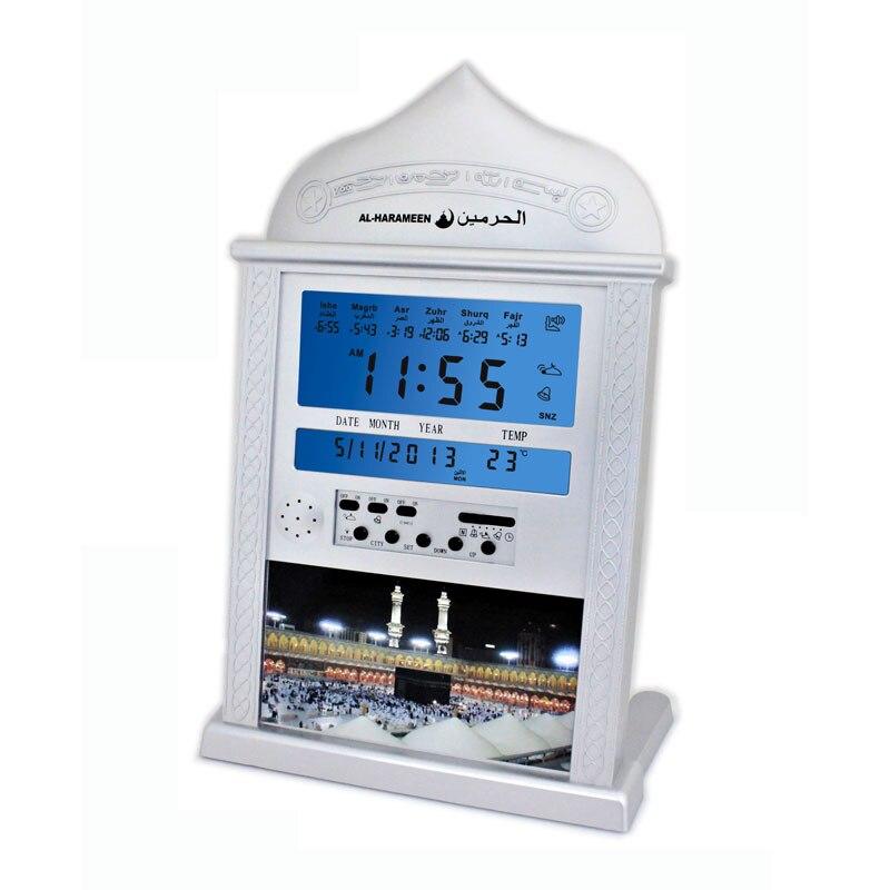 ФОТО Automatic Islamic Product Desk Clock White Al 4004 Have 1150 Cities Azan Time /hijri Fajr Alarm 2016 New muslim clock