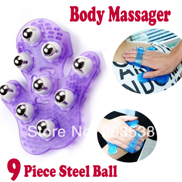 2014 New Palm Shaped Body Massager Body Face Neck Leg Handheld Massager 360 Degree Spin 9 Piece Steel Ball Roller Systemic дпа 2014 9 класс днепропетровск