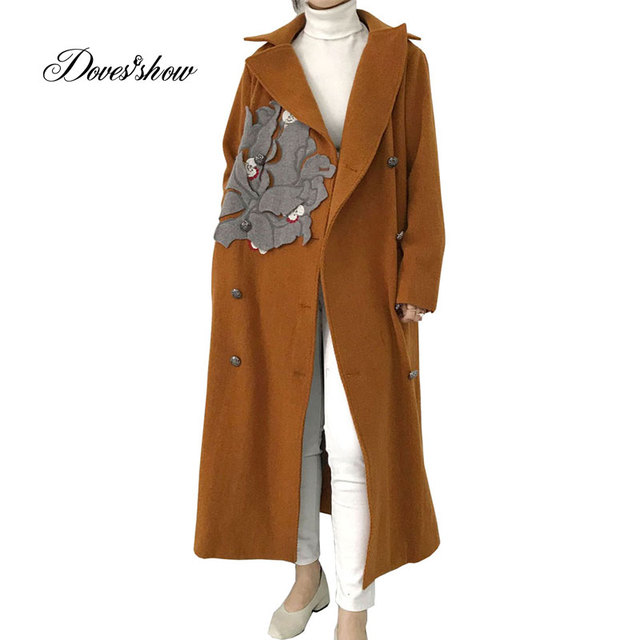 45db8d6e3f1 Hand Made Women Long Embroidery Cape Cashmere Coat New Winter Wool Jacket  Overcoat Casaco Feminino abrigos mujer invierno 2018