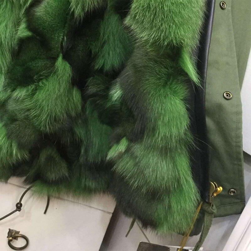 Paon Style Élégante Court D'hiver Fourrure Vert Renard Parka De Veste vqw7URCv