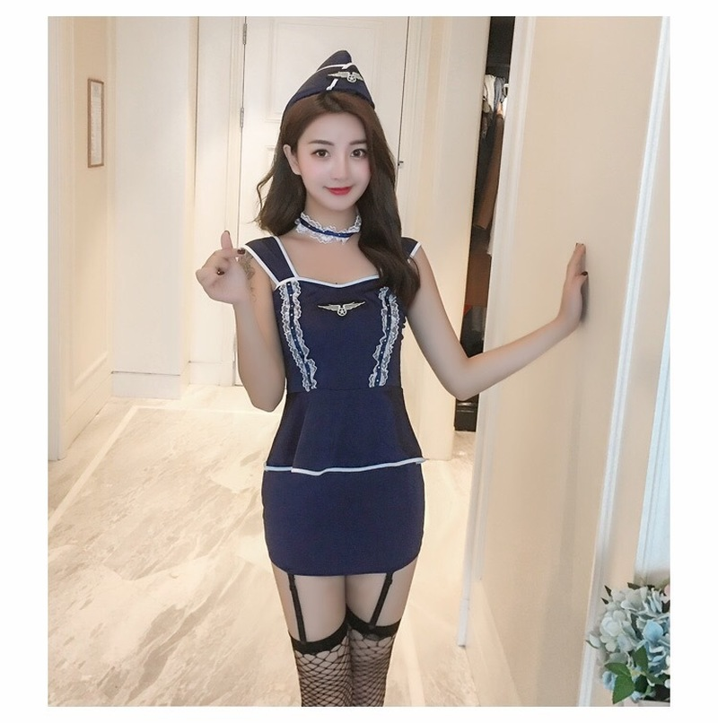 Women Sexy Lingerie Cosplay Airline Stewardess Cosplay Fancy Dress Exotic Apparel in Sexy Costumes from Novelty Special Use