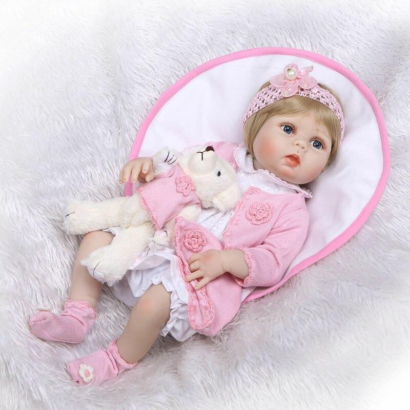 55 cm Plein Silicone Vinyle Reborn Fille Bébé Poupée Jouets Réaliste 22 ''Blonde Nouveau-Né Bebe Princesse Bébés En Vie De Bain jouer Maison Jouet