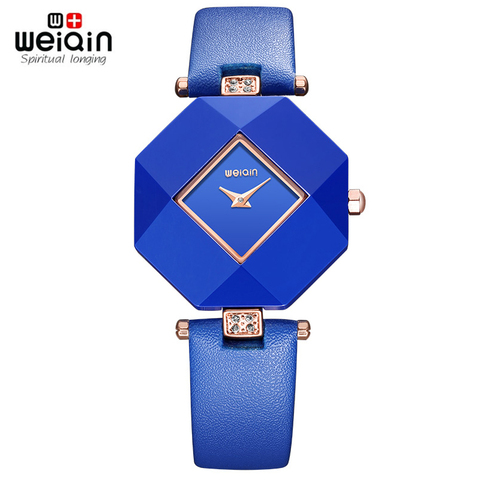 Hot drop ship Real Ceramic 2018 New Blue Star Jewelry Watch Fashion Gift Women Watches Surface Geometry Wristwatches Pakistan