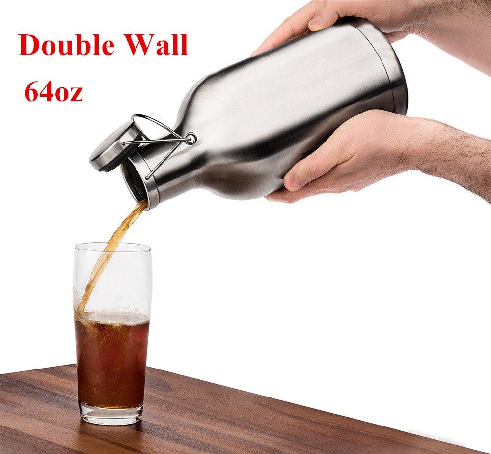 Realand 64oz Stainless Steel Homebrew Beer Growler Double Wall Vacuum Insulated Swing Lid Craft Beer Bottle Saver Flip Cap