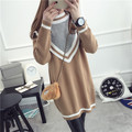 De DoveFemale College Wind sweater thick winter coat hedging students loose sweater thick sweater long section bottoming