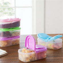 New Plastic Food Storage Box 2 Lattices Sealed Crisper Grains Tank Storage Kitchen Sorting Food Storage Box Container