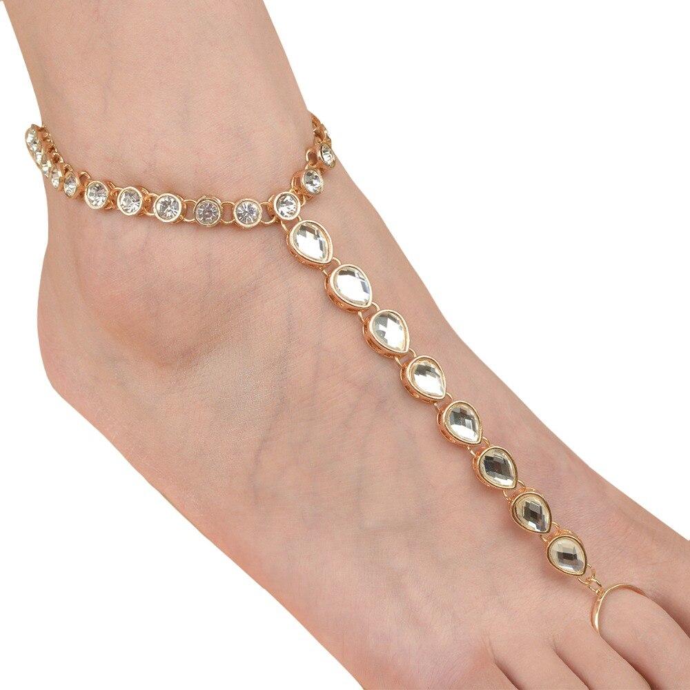 Strandkristall-armband för kvinnor Rhinestone Barefoot Sandaler Toe - Märkessmycken - Foto 3
