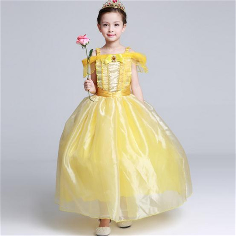 New Halloween Belle Princess Dress Gown Dress Babys Girls Children Princess Belle Costumes Kids Dresses Birthday Gift Clothing