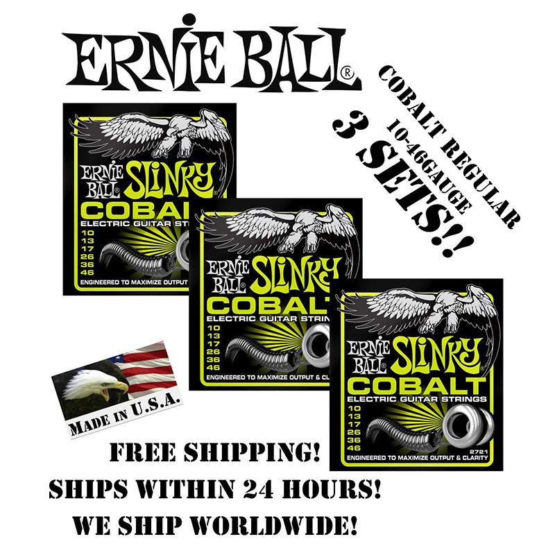 3 Packs! Ernie Ball Cobalt Regular 2721 Electric Guitar Strings Slinky Set, 010-.046