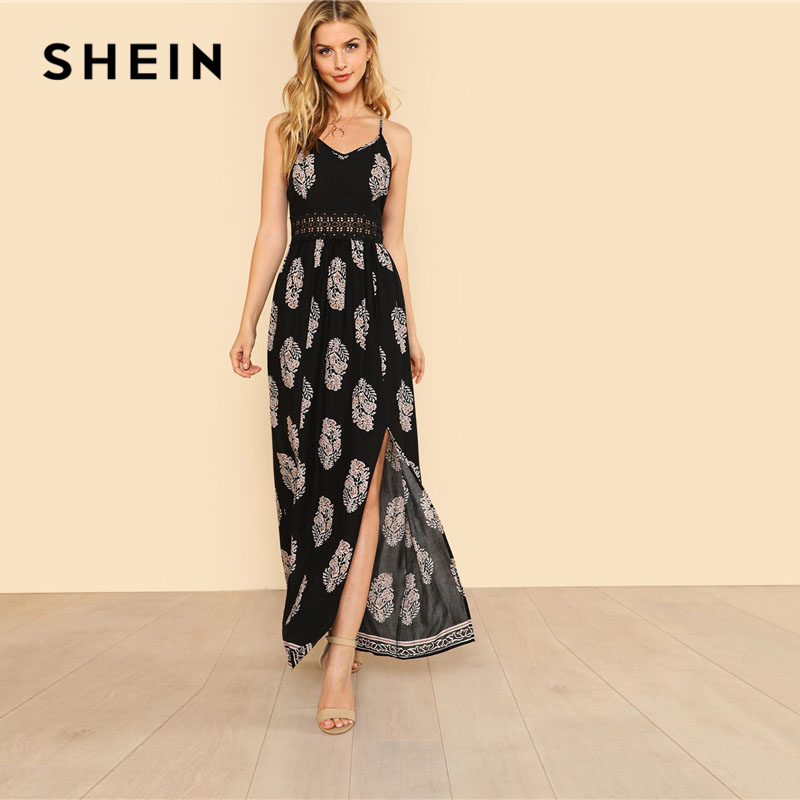 92c74773aefd SHEIN Lace Waist Split Front Cami Dress Women V Neck Spaghetti Strap  Sleeveless Maxi Dress 2018