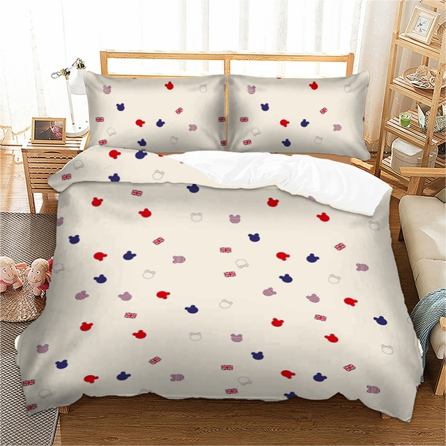 ディズニー漫画ミッキー寝具セット布団カバー寝具ツイン女王キングサイズ 3 個ホームテキスタイルドロップシップ