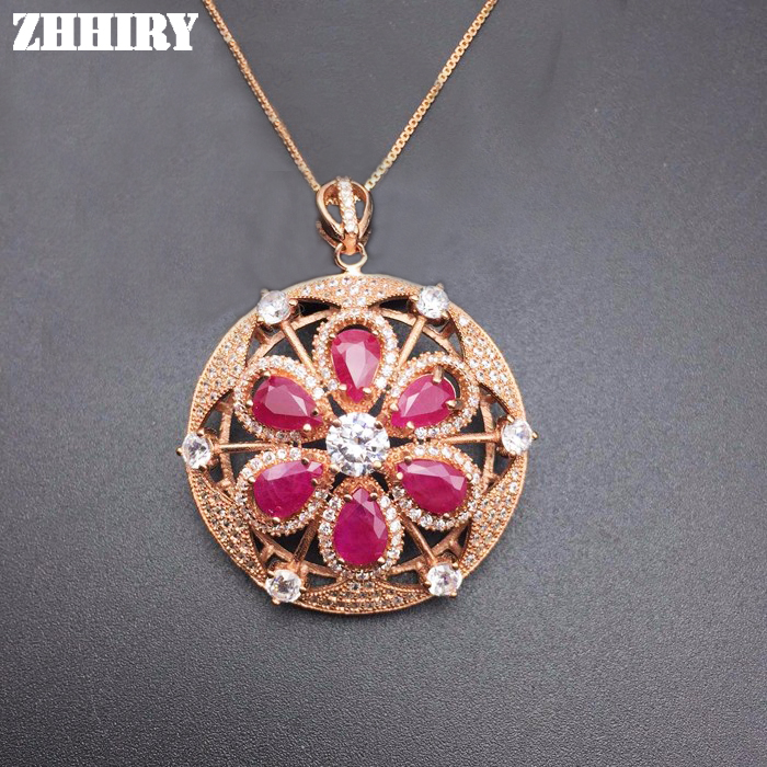 Natural Red Ruby Necklace Genuine Gem Pendant Precious Stone Woman Fine Jewelry Solid 925 Sterling Silver Lady's Luxury