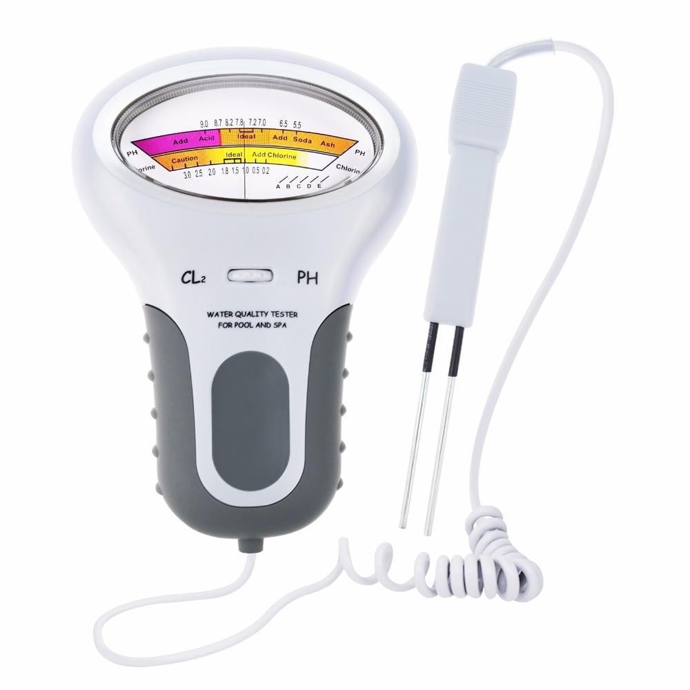 Digital Chlorine Tester, PH & Chlorine Cl2 Level Meter Tester Test Monitor Swimming Pool Spa Water monitor  Quality Analysis ph tester accept sample order