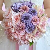 Charming Variopinto Fiori Artificiali Bouquet Da Sposa Fiori Da Sposa A mano Holding Bouquet Con Il Nastro Accessori Da Sposa