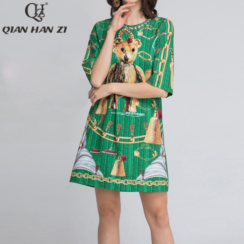 Qian Han Zi 2019 New Designer summer Fashion runway dress Women Half sleeve crystal Bear print