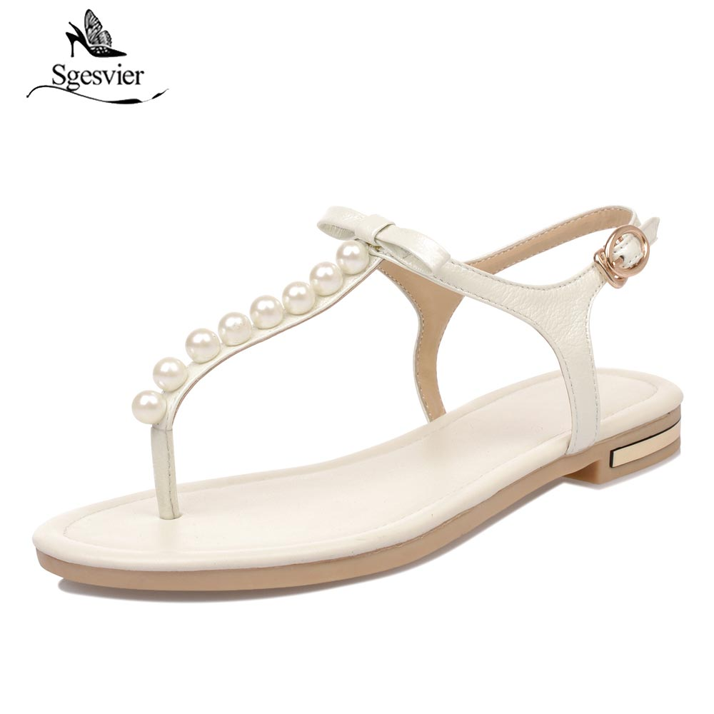 Sgesvier 2018 high quality genuine leather women sandals ladies summer flip flops sweet solid color shoes woman black white B360