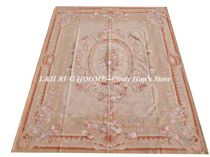 Free shipping  10'x14'  Aubusson rugs  Floral design for modern home - Home Textile