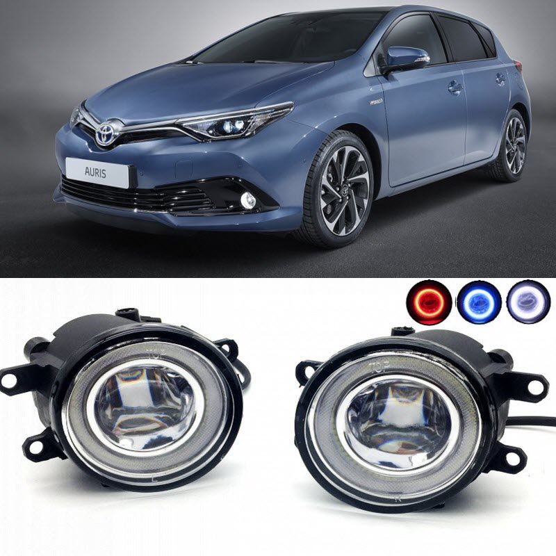 2 in 1 LED Angel Eyes DRL 3 Colors Daytime Running Lights Cut-Line Lens Fog Lights Lamp for Toyota Auris 2016 2017 2018 car styling 2 in 1 led angel eyes drl daytime running lights cut line lens fog lamp for land rover freelander lr2 2007 2014