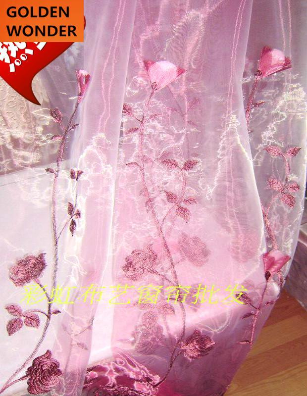 laciness cortina de tul de tela para ventana de la sala de estar dormitorio prpura rojo