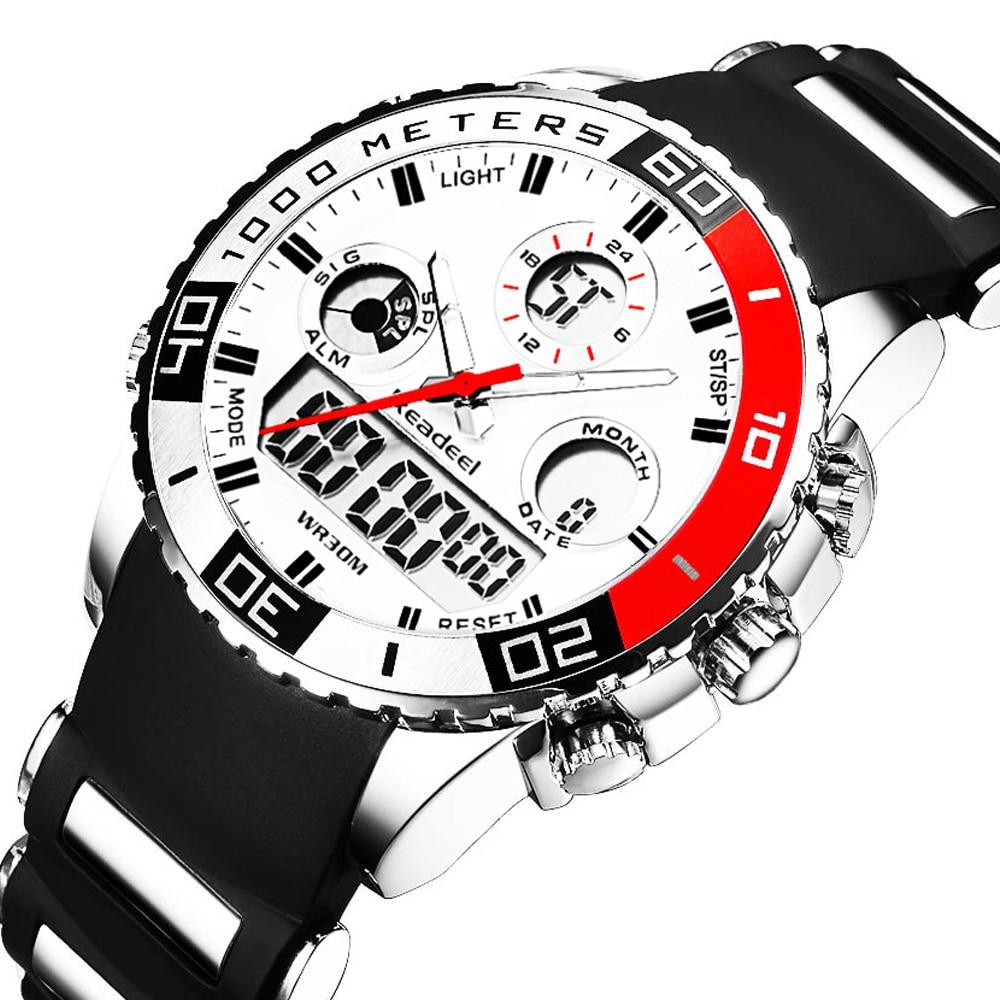 Купить на aliexpress Лидирующий бренд роскошные часы мужские резиновые светодиодный цифровые Мужские кварцевые часы мужские Спорт, армия, военный наручные час...