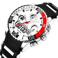 Relojes de lujo para hombre, de cuarzo, Digital, LED, de goma, militar, deportivo, militar, erkek kol saati