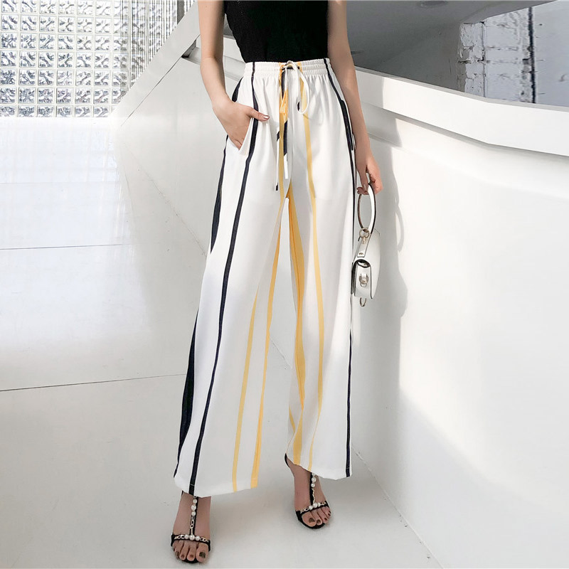 LZMZA Streetwear striped   Wide     Leg     Pants   women chiffon   Pant   summer Women Modern Lady Elegant high waist   Pants   Loose Trousers