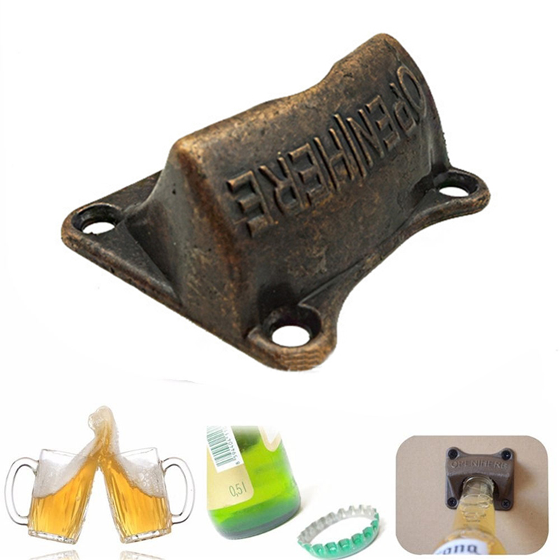 Vintage Bronze Wall Mounted Opener Wine For Beer Soda Glass Cap Bottle Opener Kitchen accessories supplies Bar Gift Kitchen Tool image