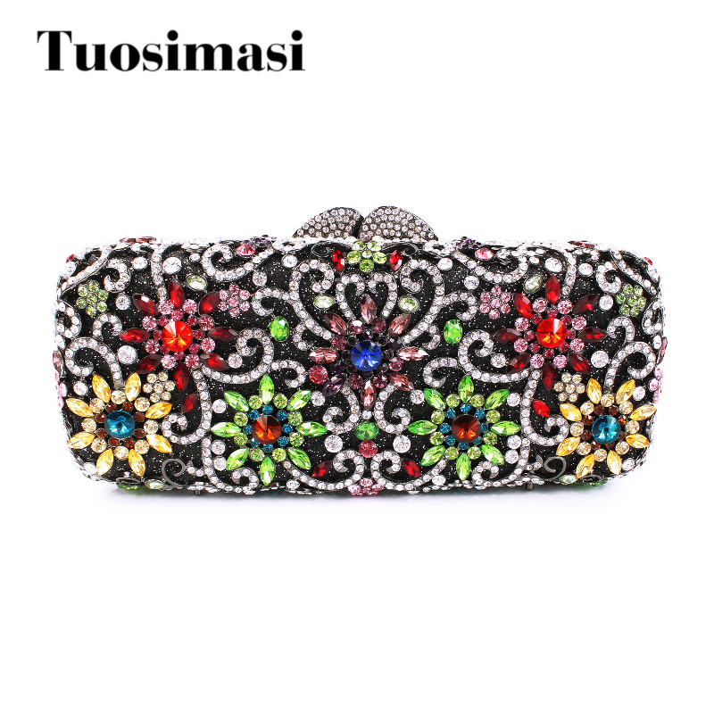 Women Flower Crystal Bags Wedding Clutch Purses Luxury Evening Clutches Diamond Party Bag Stone Crystal Luxury Ladies Handbags