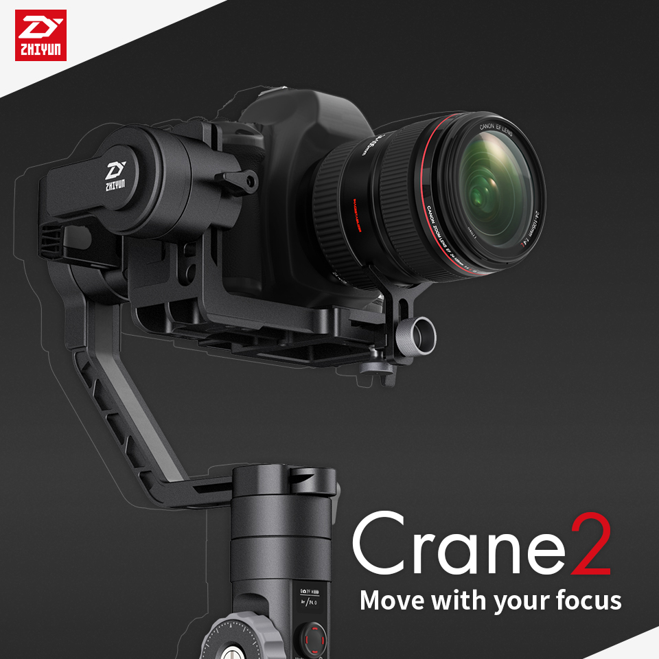 FREE DHL Zhiyun Crane 2 3-axis Gimbal Handheld stabilizer 3.2KG Follow focus Dual handle for DSLR MIRRORLESS Gyro FILM CAMERA free dhl newest zhiyun crane v2 2 3 axis brushless handheld video camera stabilizer gimbal kit for mirrorless dslr camera
