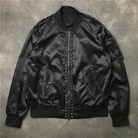 New 19ss Men Rib Sleeve Metal Rivet zipper Fashion High quality couple Baseball Coats & Jackets Abstract digital coat Motor #E50