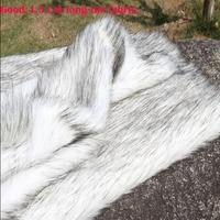 good Faux Fur Fabric Black/Grey Tip Of 4 5MM Long Hairy Imitation Fox Fur Fabric DIY Fur Collar Clothing Decorative Materials