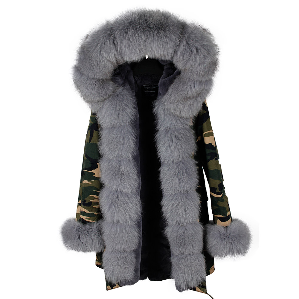 2018 Amovible Fourrure Fur Chaud D'hiver Parka Marque De camo green Vestes Épais Femmes Réel Fur Manteau black Fur Doublé Fox Black Rose Pink Col Grey Naturelle Long Manteaux Avec cam Fur Blue Nature rrzq4