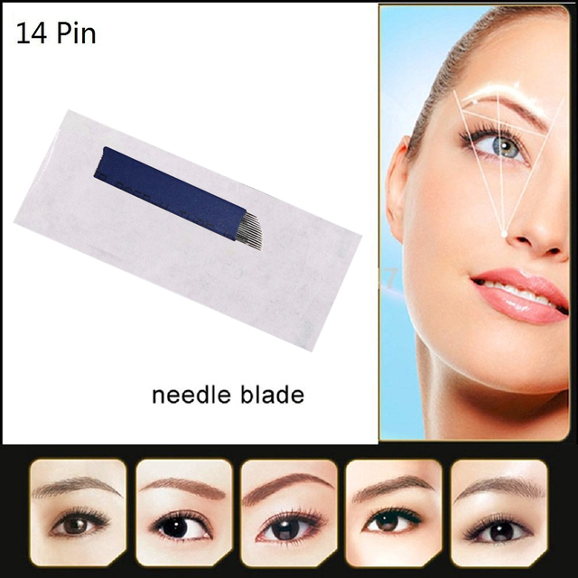 Disposable Microblading Needles Permanent Makeup Blade Hair Stroked Eyebrow Tattoo Blade Stainless Steel 14 Pin 20pcs/lot