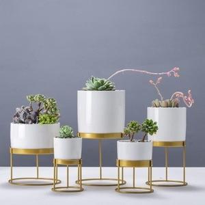 Arte del hierro de oro creativo nórdico cerámica blanca redonda maceta de flores plantas carnosas macetas Oficina sala de estar escritorio bonsái de decoración
