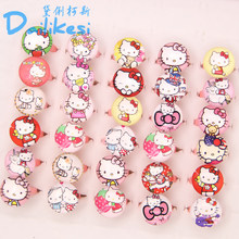 20pcs lovely animation cartoon Children/Kids Cartoon Round-shaped Hello Kitty KT Cat Acrylic Lucite Resin Rings Free Shipping(China)