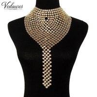 Vedawasファッションメタルチョーカージュエリー女性分厚いよだれかけ首輪トルクロングチェーンタッセルステートメントネックレス&ペン