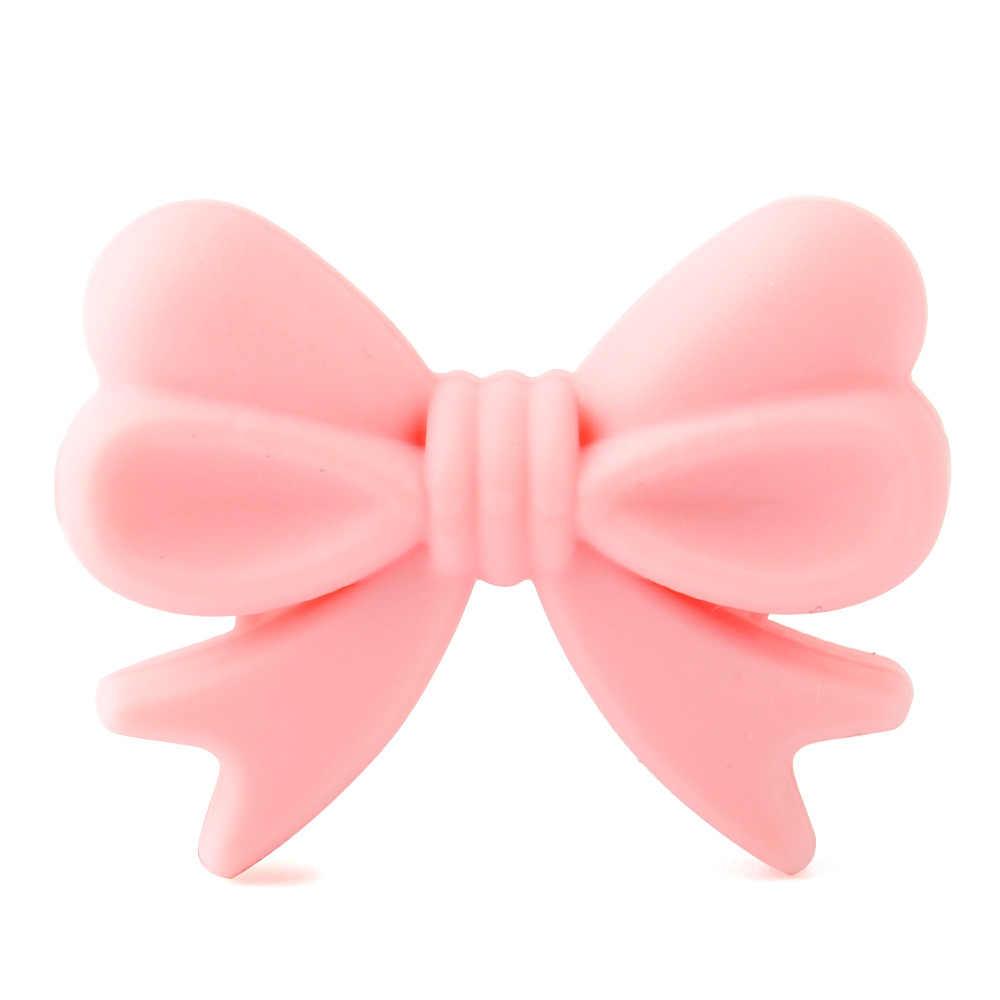 Menjaga & Tumbuh 10 Pcs Ikatan Simpul Silikon Manik-manik Bpa Gratis Bow Tie Bayi Tumbuh Gigi Bead untuk DIY Perhiasan Membuat Kunyah gigi Bayi Hadiah