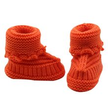 New 0-6M Baby Snow Shoes Infant Crochet Knit Fleece Boots Bowknot Toddler Girl Boy Wool Crib Shoes Winter Warm Booties