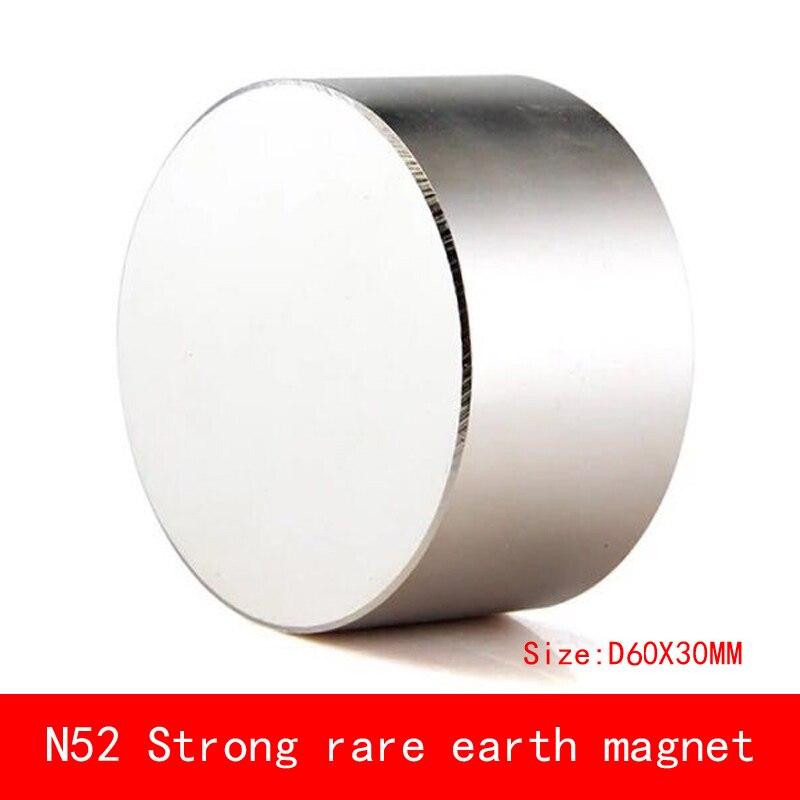 1 pièces D60 * 30mm grand bloc rond N52 forte force magnétique NdFeB terre rare néodyme aimant avec crochet diamètre 60X30 MM