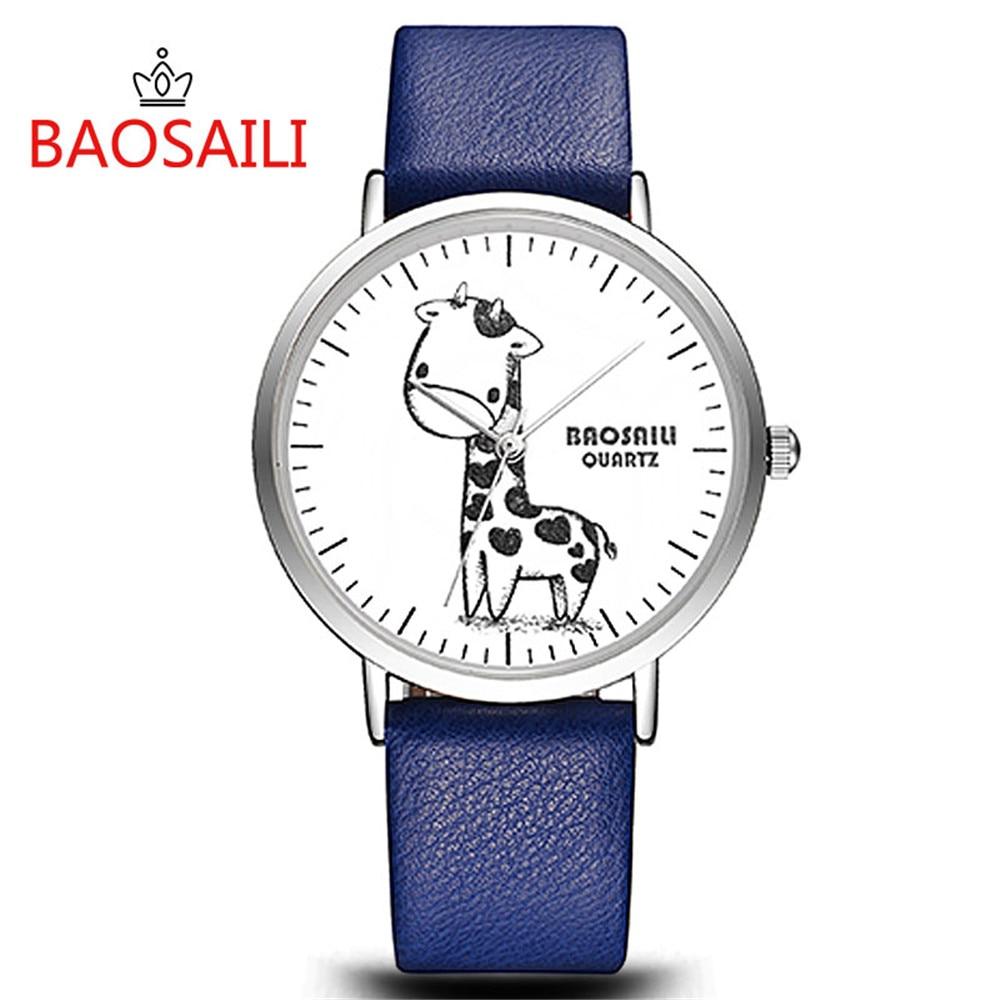 Cute Giraffe Animal Kids Watch Fashion Girls Boys Dress Colorful Leather Strap Wristwatch Hodinky Baby Enfant Ceasuri