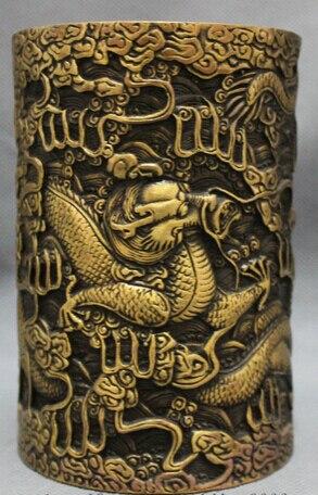 JP S0608 Chinese Bronze Folk Zodiac Myth Fly Dragon Statue Brush Pot Barrel Pencil Vase B0403