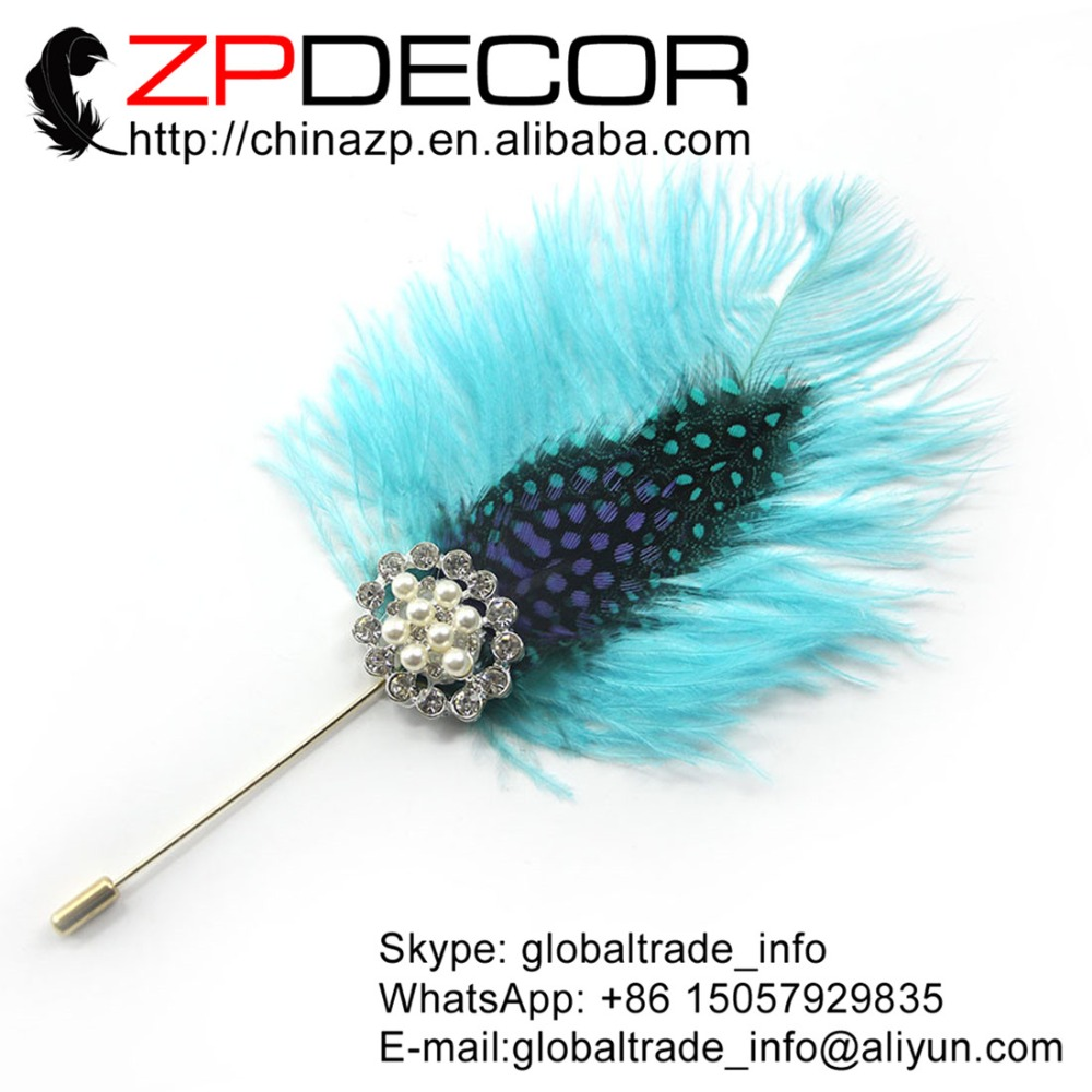 ZPDECOR Feather Jewelry Handmade High Quality Light Blue Ostrich Feather Corsage Hair Clip Brooch Pin Wedding Accessory